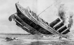 Sinking of the Lusitania. Engraving by Norman Wilkinson, The Illustrated London News, May 15, 1915. P. 631